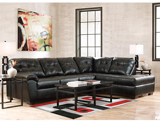 Soho II Onyx 2-Piece Sectional with Right-Arm Facing Chaise, , large