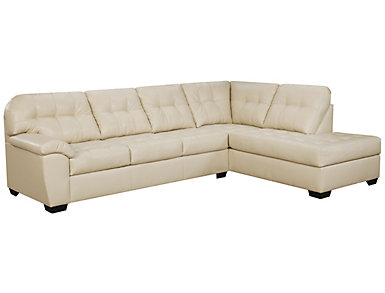 Soho II 2-Piece Right-Arm Facing Bump Chaise Sectional, Pearl, , large
