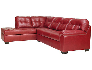 Soho II Red 2 Piece Sectional Left-Arm Facing Bump Chaise, , large