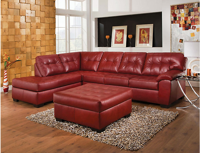 Soho Ii Red 2 Piece Sectional Left Arm Facing P Chaise Large