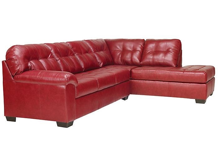 Soho II Red 2 Piece Sectional with Right-Arm Facing Chaise