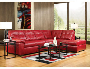 Soho II Red 2 Piece Sectional with Right-Arm Facing Chaise, , large