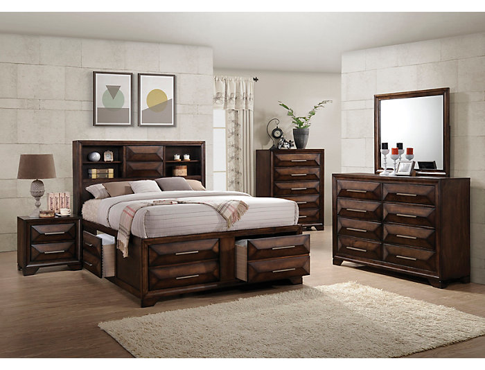 Anthem Rich Tobacco Finish 4 Piece King Storage Bedroom Set