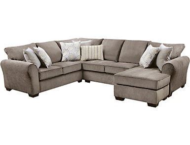 Harlow Sectional, Ash, Grey, large