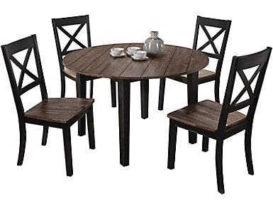 A la Carte Black 5 Piece Round Table Set, , large
