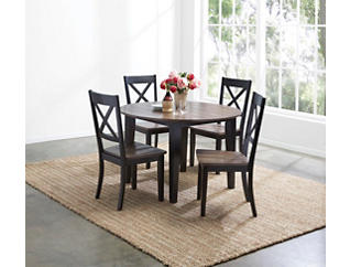 A la Carte Black 5 Piece Round Table Set, Black, large