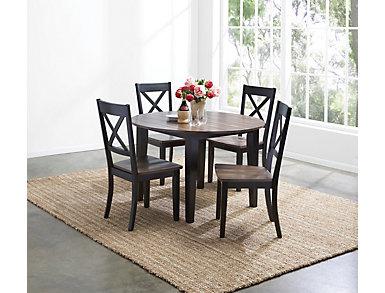 A la Carte Black 5 Piece Round Table Set, Black, large