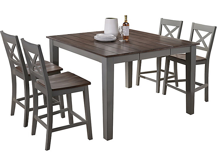 A La Carte Grey 5 Piece Counter Table Set Outlet At Art Van