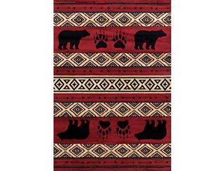 "Woodside Bear Red Rug 22""x36"", , large"