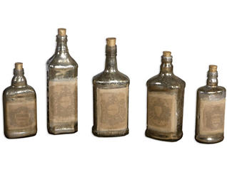 Recycle Styled Bottles Set of5, , large