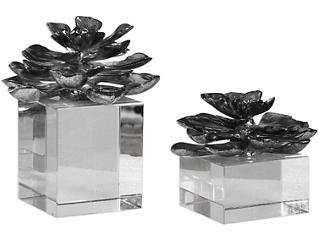 Silver Indian Lotus Set of 2, , large