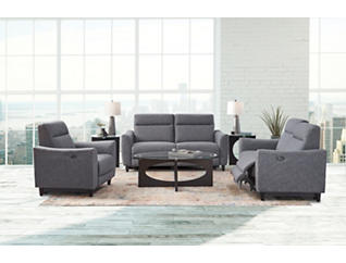 Rossi Grey Power Reclining Loveseat, , large