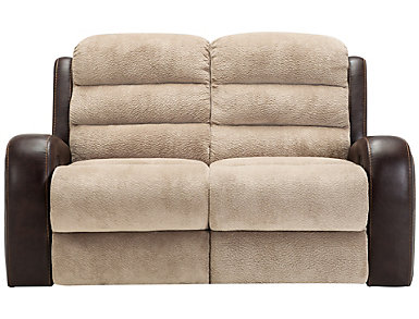 Clark Manual Two-Tone Reclining Loveseat, , large