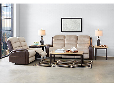 Clark Two-Tone Manual Reclining Sofa, , large