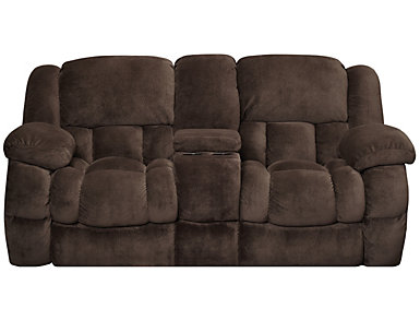 Memphis Manual Reclining Console Loveseat, Chocolate, , large
