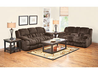 Memphis Chocolate Manual Reclining Console Loveseat, , large