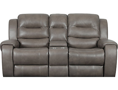 Edmon Grey Reclining Console Loveseat, , large