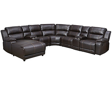 Laramie 7 Piece Sectional with Left Arm Facing Chaise, Dark Brown, , large