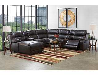 Laramie III Chocolate 7 Piece Manual Reclining Sectional with Left-Arm Facing Chaise, , large