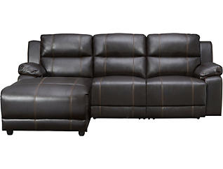 3 Piece Left-Arm Facing Reclining Sofa Chaise, Dark Brown, , large
