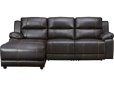 Laramie III 3 Piece Brown Left-Arm Facing Reclining Sofa Chaise, , large