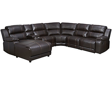 Laramie III 6 Piece Brown Sectional with Left Arm Facing Chaise, , large