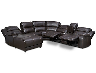 Laramie III Chocolate 6 Piece Manual Reclining Sectional with Left-Arm Facing Chaise, , large