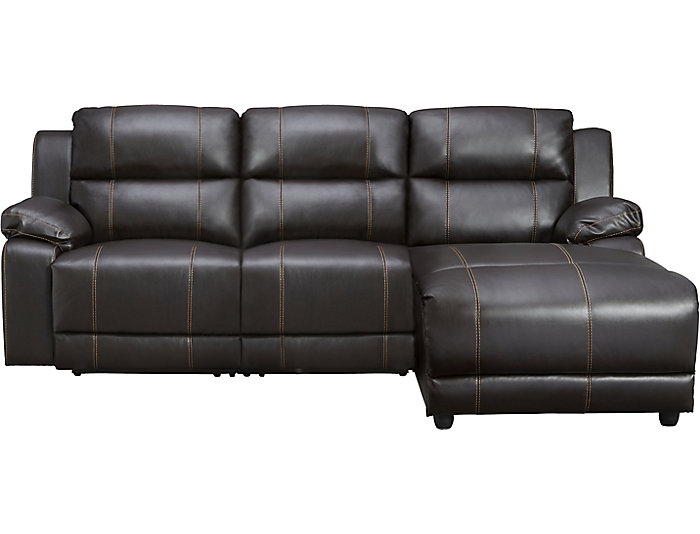 ... 3 Piece Right Arm Facing Reclining Sofa Chaise, Dark Brown, , Large ...
