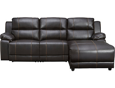3 Piece Right-Arm Facing Reclining Sofa Chaise, Dark Brown, , large