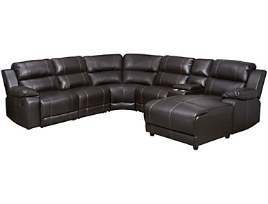 Laramie III 6 Piece Brown Sectional with Right Arm Facing Chaise, , large