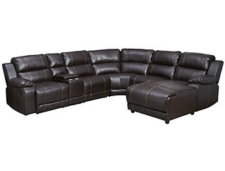 Laramie III Chocolate 6 Piece Manual Reclining Sectional with Right-Arm Facing Chaise, , large