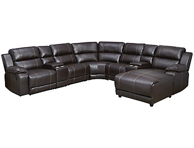 Laramie 7 Piece Sectional with Right Arm Facing Chaise, Dark Brown, , large