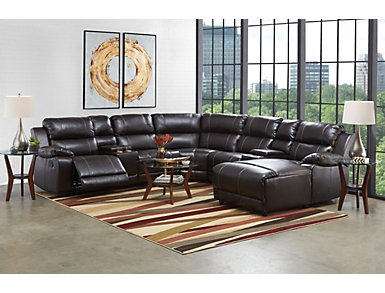 Laramie III Chocolate 7 Piece Manual Reclining  Sectional with Right-Arm Facing Chaise, , large