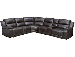 6 Piece Reclining Sectional, Dark Brown, , large