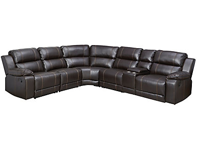 6 Piece Reclining Sectional, Dark Brown