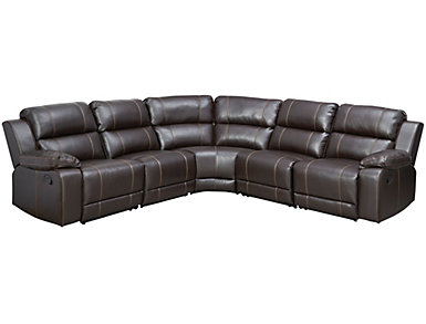 Laramie 5 Piece Reclining Sectional, Dark Brown, , large
