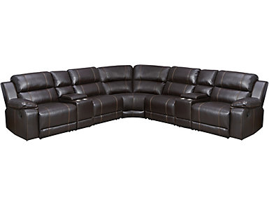 Laramie III 7 Piece Brown Reclining Sectional, , large