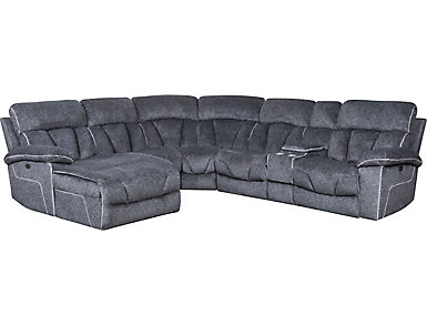 Gladiator 6 Piece Charcoal Power Reclining Sectional with Left-Arm Facing Chaise, , large