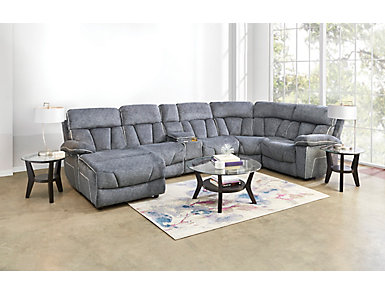 Gladiator Charcoal 6 Piece Power Reclining Sectional with Left-Arm Facing Chaise, , large