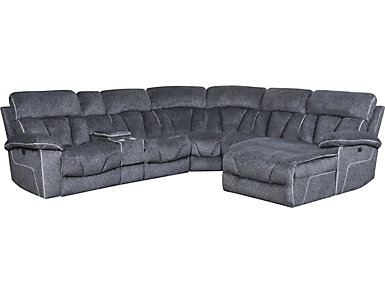 Gladiator 6 Piece Charcoal Power Reclining Sectional with Right-Arm Facing Chaise, , large
