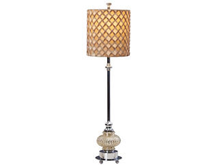 Brown Silk Buffet Lamp, , large