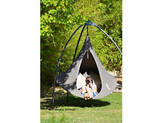 Double Taupe Hanging Cocoon, Taupe, large
