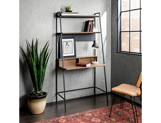 Zoya Mocha Ladder Desk with Storage, , large