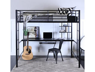 Kylie Black Full Loft Bed, Black, large