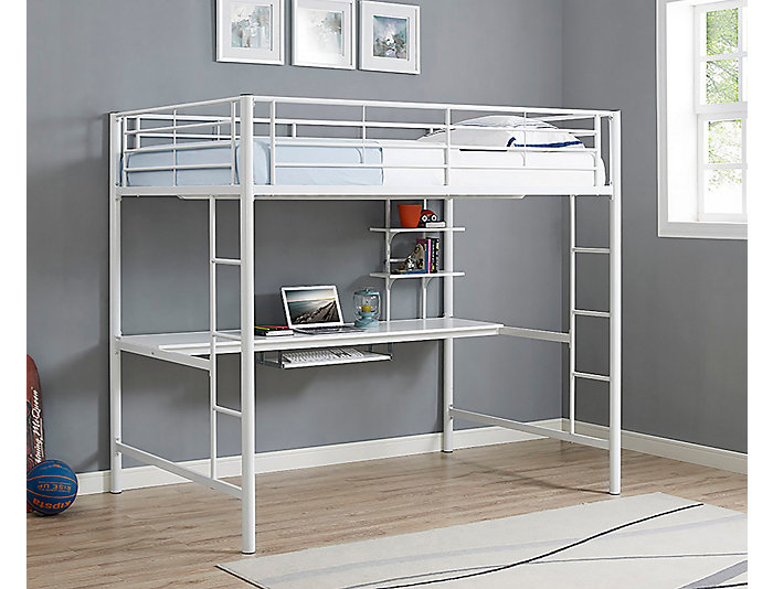 Kylie Full White Loft Bed, , large
