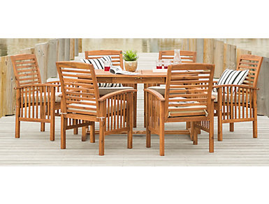 Essex 7pc Acacia Dining Set, , large