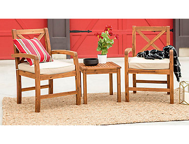 Juno 3 Piece Brown Acacia Chat Set, , large