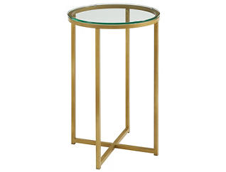 Derby Round End Table, Gold, , large