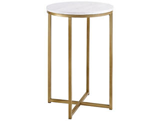 Derby Faux Marble End Table, Gold, , large