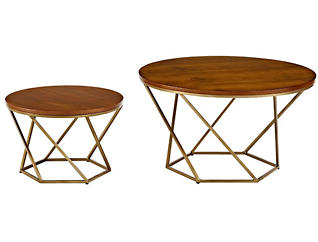 Walnut Coffee Tables, Gold, , large